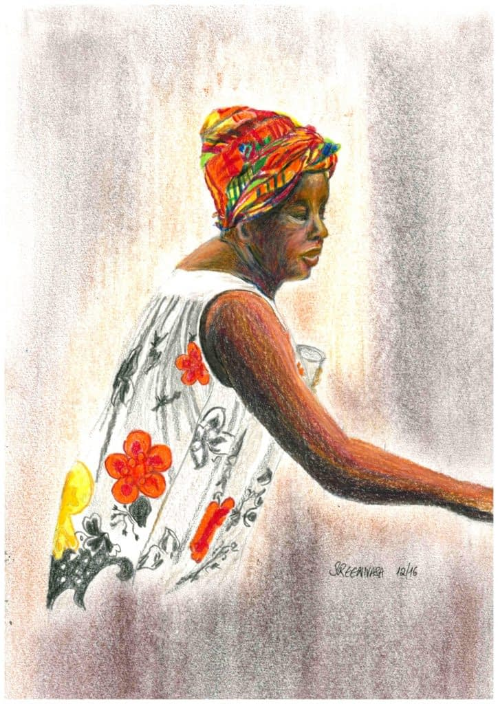 Woman vendor in Martinique - colour pencils