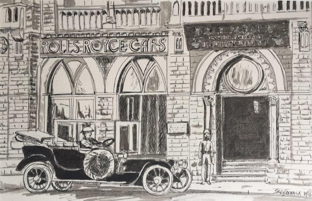 Old Rolls-Royce factory in India - pen and ink